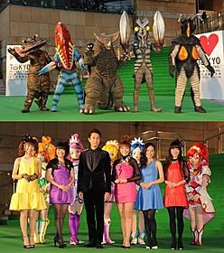 グリーンカーペットに登場した ウルトラ怪獣とプリキュアキャラクター「映画 ドキドキ!プリキュア マナ結婚!!?未来につなぐ希望のドレス」