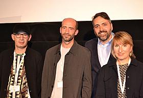 「ブラインド・デート」会見に出席した レバン・コグアシュビリ監督、アンドロ・サクバレリゼ、 スリコ・ツルキゼとオレナ・イェロショバ「ブラインド・デート」