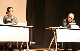 シンポジウムに出席した 小泉堯史監督と黒澤和子氏「どん底」
