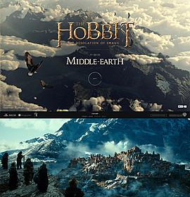 「Chrome Experiment」のスクリーンショット(上)と劇中写真(下)「ホビット 竜に奪われた王国」