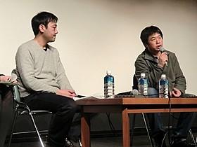 作品について語ったワン・ビン監督(右)と戌井明人「収容病棟」