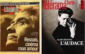 レネ監督追悼特集を組んだ全国紙 リベラシオンと週刊誌テレラマの表紙「去年マリエンバートで」