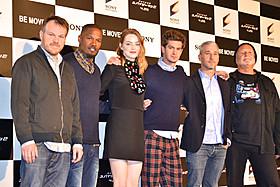 (左から)マーク・ウェブ監督、ジェイミー・フォックス、エマ・ストーン、 アンドリュー・ガーフィールド、プロデューサーのマット・トルマック&アビ・アラド「スパイダーマン」