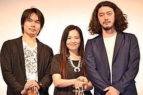 (左から)ギタリストの佐藤亙、榊いずみ、榊英雄監督「捨てがたき人々」