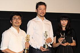 ティーチインに出席した(左から) 熊切和嘉監督、浅野忠信、二階堂ふみ「私の男」