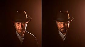 特殊メイク前(左)と、メイク後(右)の蛭子