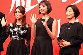 会見に出席した宮沢りえ、大島優子、小林聡美「紙の月」