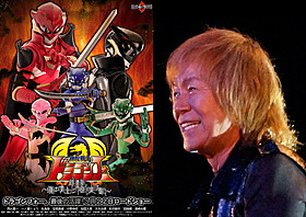 劇中映画の特別ポスター(左)とテーマソング担当の串田(右)「イン・ザ・ヒーロー」