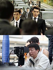 劇中写真(上)と撮影中のクァク・キョンテク監督(下)「チング 永遠の絆」