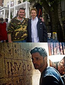 写真上は原作者サーキ氏(左)とブラッカイマー(右)、 下は本編シーンのバナ「NY心霊捜査官」