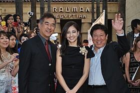 LAのファンの熱量を体感した(左から) 北村龍平監督、黒木メイサ、山本又一朗氏「ルパン三世」