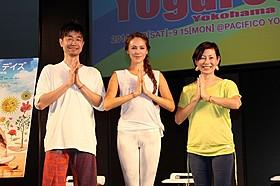 ヨガの世界を語った(左から) 綿本彰氏、道端ジェシカ、永田琴監督「シャンティ デイズ 365日、幸せな呼吸」