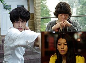 瀬々組に結集した岡田将生(左)と染谷将太、成海璃子「ストレイヤーズ・クロニクル」
