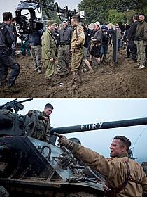 公開されたメイキング画像(上)と新場面写真(下)「フューリー」