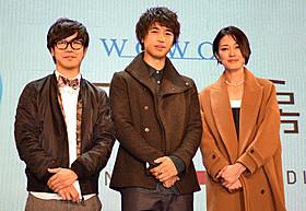 番組MCを務める斎藤工と板谷由夏、映画評論家の中井圭氏「サンバ」