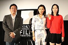 (左から)チョ・グニョン監督、キム・ソヒョン、イ・ユヨン「晩春(1949)」