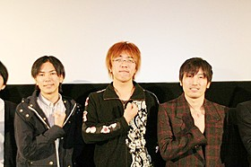 原作者の諫山創氏、荒木哲郎監督、音楽を手がけた澤野弘之氏(左から)「ガーディアンズ・オブ・ギャラクシー」
