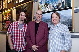 取材に応じたドン・ホール&クリス・ウィリアムズの 監督コンビ、プロデューサーのロイ・コンリ「ベイマックス」
