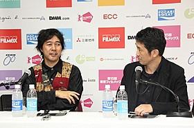 トークイベントを行った篠崎誠監督と柳下毅一郎氏「ステレオ 均衡の遺失」
