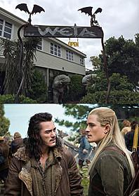 WETAワークショップの入り口(上)と 「ホビット 決戦のゆくえ」劇中写真(下)「ホビット 決戦のゆくえ」