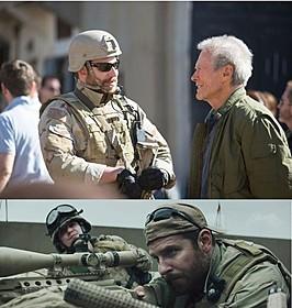 (上)撮影の合間に話をするクーパーとイーストウッド (下)「アメリカン・スナイパー」の一場面「アメリカン・スナイパー」