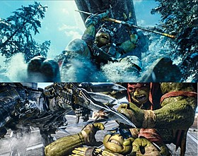 (上)雪山での大チェイス(下)宿敵シュレッダーとの激闘「ミュータント・タートルズ」