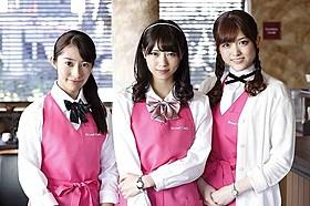 撮影の様子を語った桜井玲香(左)、 西野七瀬(中央)、松村沙友理