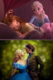 眠るアナを起こそうとするエルサ「アナと雪の女王」