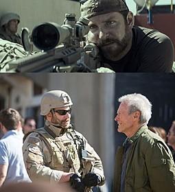 (上)「アメリカン・スナイパー」の一場面 (下)撮影中のイーストウッドとブラッドリー・クーパー「アメリカン・スナイパー」