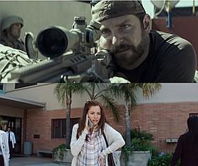 戦場でのクリス(上)と帰りを待つ妻タヤ(下)「アメリカン・スナイパー」