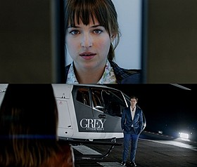 (上)クリスと出会い洗練されていくアナ (下)ハンサムで大富豪のグレイ「マトリックス レボリューションズ」