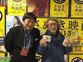 大林宣彦監督(右)と舞台挨拶に聞き入った本広克行監督「時をかける少女」