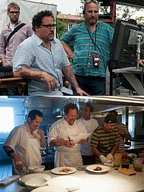 撮影現場でのジョン・ファブローとスタッフ「アイアンマン」