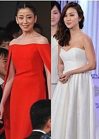 「紙の月」で共演した宮沢りえと大島優子、 紅白のドレスで登場「紙の月」