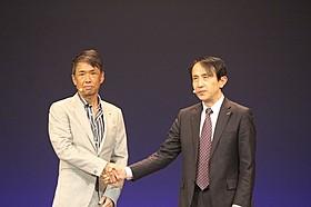 エイベックス代表取締役社長・千葉龍平氏(左)と NTTドコモ取締役常務執行役員・中山俊樹氏「ニュー・シネマ・パラダイス」