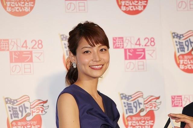 ブルーのドレスの相武紗季