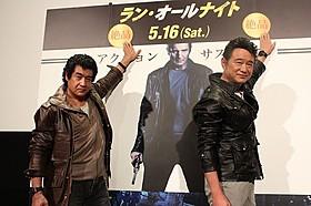 汗だくになりながら熱いトークを展開した藤岡弘、(左)と船越英一郎「ラン・オールナイト」