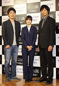 スリムなパンツスーツで登場した木村文乃(中央)「イニシエーション・ラブ」
