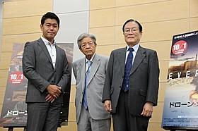 (左から)キャスターの長谷川豊、田原総一朗氏、森本敏教授「ドローン・オブ・ウォー」