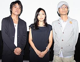 舞台挨拶に出席した(左から) 三元雅芸、黒川芽以、千葉誠治監督「忍者狩り」