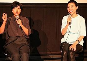 ティーチインを行った安藤桃子監督(右)と安藤サクラ「0.5ミリ」