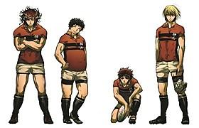 アニメ「ALL OUT!!」主要キャラクターの設定画 (左から)赤山濯也、八王子睦、祇園健次、岩清水澄明