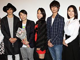 (左から)久保田秀敏、寺西一浩監督、 一ノ瀬文香、西村一輝、矢吹春奈「東京 ここは、硝子の街」