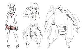 主人公・森山ココネとハーツのデザイン画「ひるね姫 知らないワタシの物語」