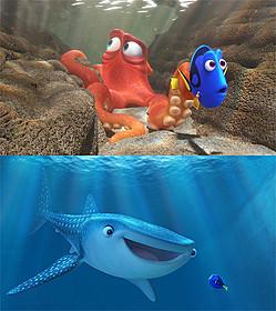 最新予告で登場する新キャラクター タコのハンク(上)とジンベエザメのデスティニー(下)「ファインディング・ドリー」