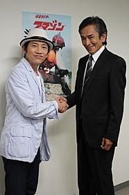 (左から)松田洋治と岡崎徹「仮面ライダーアマゾン」