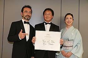 (左から)古舘寛治、深田晃司監督、筒井真理子「淵に立つ」