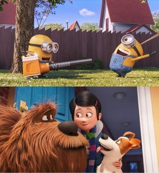 (上)ミニオンたちが庭掃除に挑戦! (下)同時上映作「ペット」より「ミニオンズ」
