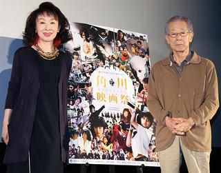 舞台挨拶に立った三田佳子と澤井信一郎監督「Wの悲劇」