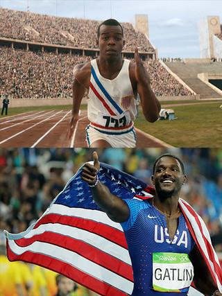 五輪の100メートル走では最高齢 でのメダル獲得(写真下)「栄光のランナー 1936ベルリン」